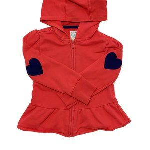 Coral Heart Patch Skirted Zip-Up Hoodie